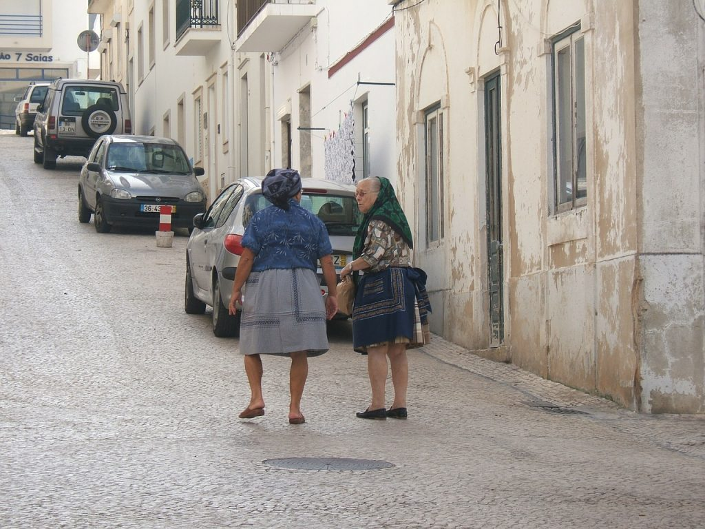 old ladies, street, portugal