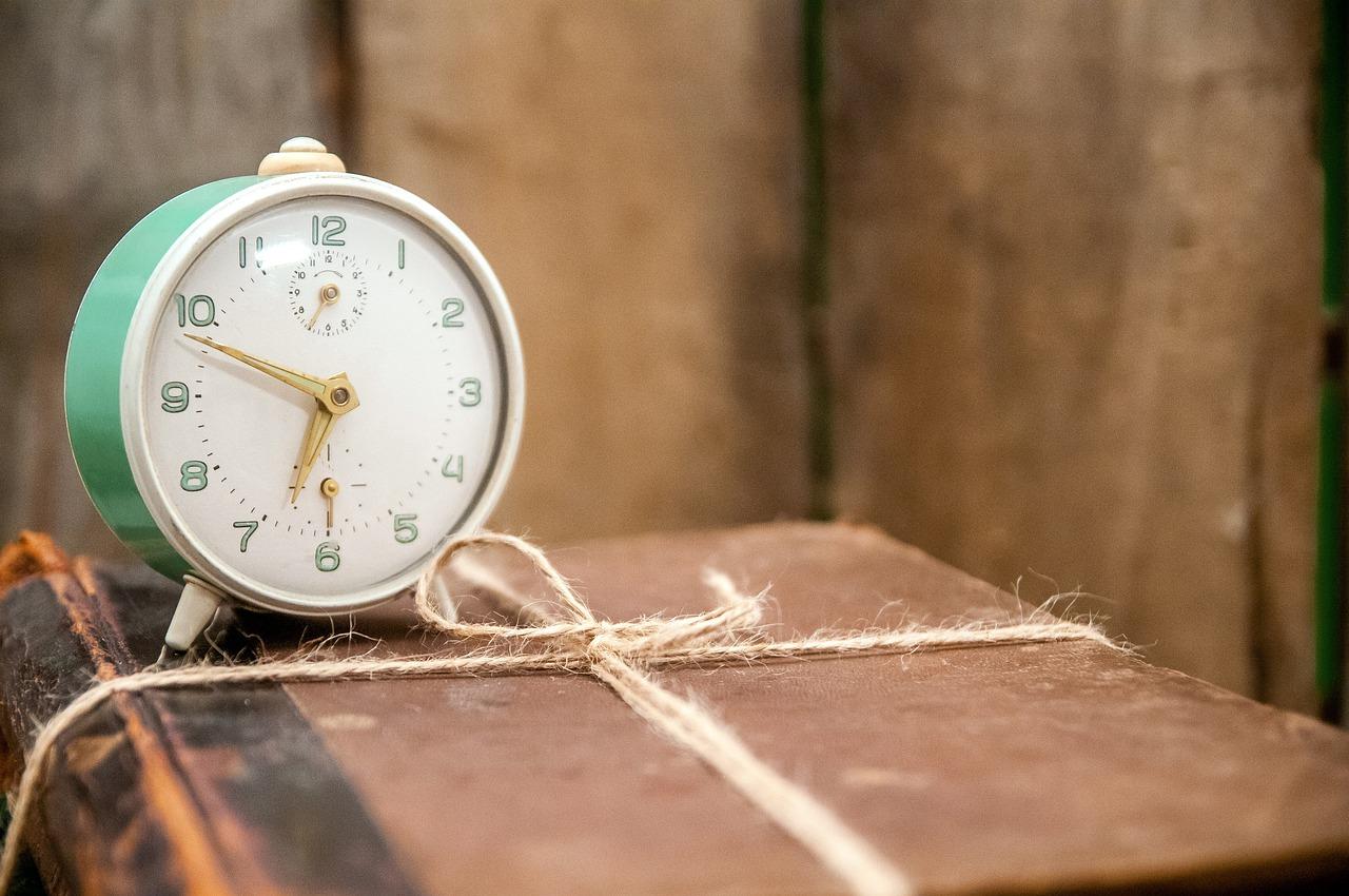 alarm, clock, books